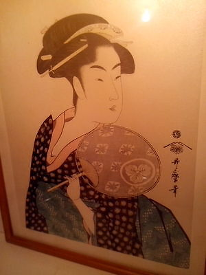 Vintage Japanese Woodblock Print Bijinga Beauty With Fan by Kitagawa Utamaro