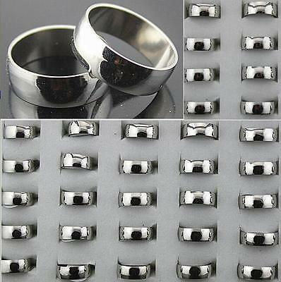 100 Silver Polish 8mm Band Men's Stainless Steel Wedding Rings Wholesale Jewelry