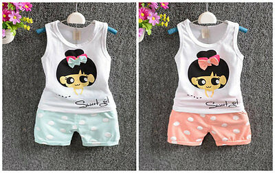 Baby clothes infant kids baby girls summer cotton top tee+short pants polka dot