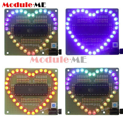 New DIY Kit Heart Shaped LED Colorful Light Water Electronic Suite Set Gift UK