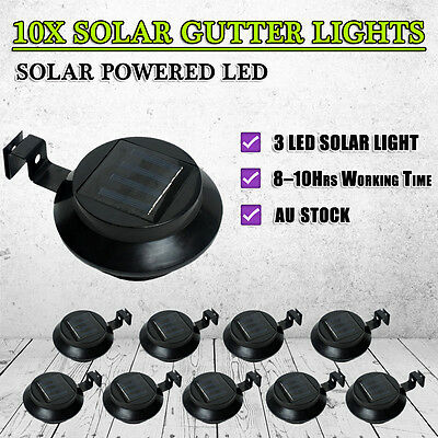NEW 2017 10X 3LED Solar Fence Gutter Outdoor Garden Light Yard Wall Pathway Lamp