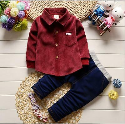 2pc Baby clothes Toddler kids boy top shirt+jeans pants outfits set casual suit