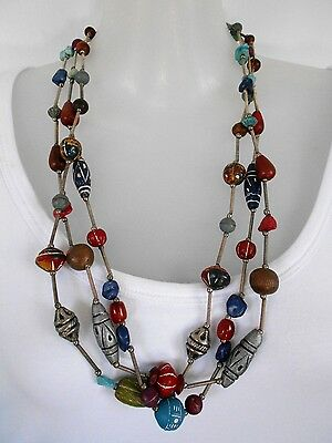 SALE Multi-strand Handmade Pottery + Stone Necklace was $27.95 NOW $ 20 BUY NOW!