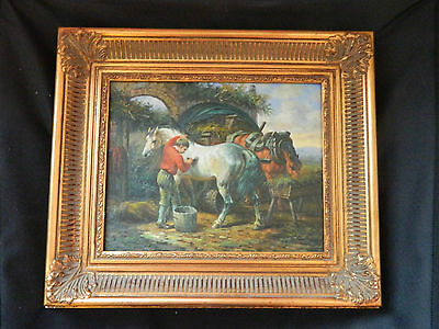 A vintage oil painting on wood panel of horses in stable