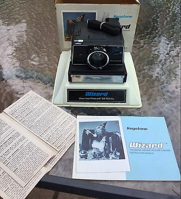 VINTAGE KEYSTONE WIZARD XF1000 INSTANT CAMERA with BOX, TRAY & DOCUMENTS - *NOS!