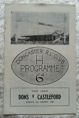 Doncaster v Castleford Sunday 3rd August 1969 Rugby League Programme