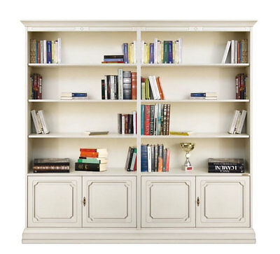 Wooden bookcase, living or office bookcase with doors and shelves, easy assembly