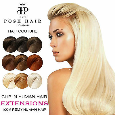POSH Deluxe Clip in Human Hair Extensions REMY Full Head|+ FREE Bonus