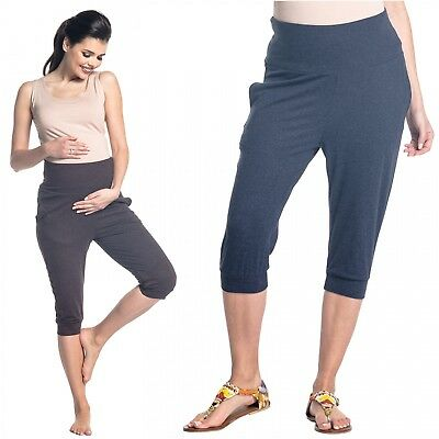 Zeta Ville - Women's maternity capri pants pockets stretch waistband - 699c