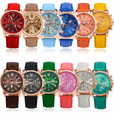 Women's Fashion Geneva Roman Numerals Casual Leather Quartz Wrist Watches