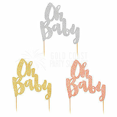 Cake Decorations Oh Baby Metallic Cake Topper Gold Silver Rose Gold Baby Shower