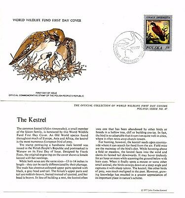 World Wildlife Fund First Day Cover 1977 - Poland - The Kestrel