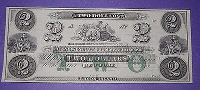 1800 's CH CU $2 RHODE ISLAND   Two Dollar US Bank Note Currency