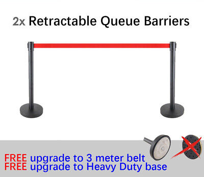 2x 3m Retractable Queue Crowd Barriers Crowd Control (Black Pole & Red Belt)