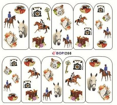 Nail Art Sticker Water Decals Transfer Stickers Love Horses (BOP266)