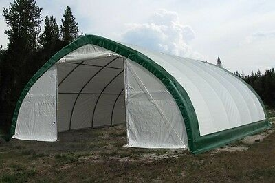 30x65x15 Canvas Fabric Tarp Storage Building Shop Shelter Metal Frame NEW