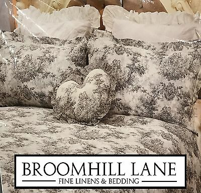 New! Luxury 100% Cotton Toile Grey White French Vintage Duvet Cover Set Country