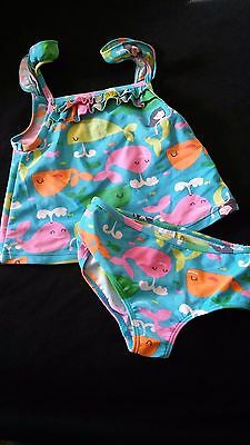 Baby Girls Carter's Blue Whale Mermaid Two Piece Swimming Suit Bathing 24 Months