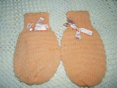 Vintage Toddler/young Girl's Pink Knitted Mittens With Bow