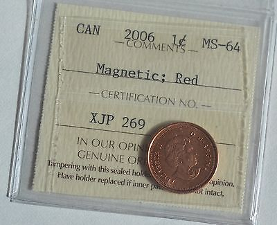 "2006 Canada Penny Magnetic,  Red, No ""P"". No ""Logo"""