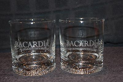 Bacardi Glass Rocks Glasses Etched Textured Embossed Bottom