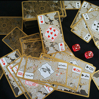 Waterproof Transparent PVC Poker Gold Edge Playing Cards Dragon Card Novelty