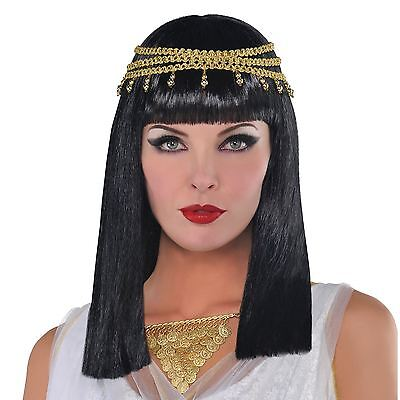 Egyptian Goddess Cleopatra Ladies Wig Black Hair Jewel Gold Elasticated Headwear