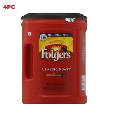6 Cans Folgers Classic Roast Coffee, Medium - 48 oz per can