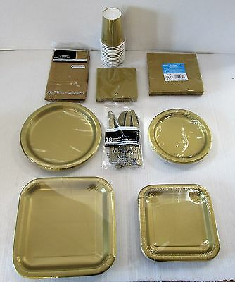 Gold Party Tableware Plates cups napkins party Packs etc - Choose your item
