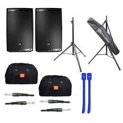 JBL EON615 15' 2-Way Speaker Sys (2) w/ Bag, Stand, XLR Cables & Cable Ties NEW