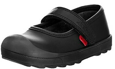Kickers Plunk Bar Infant Girls Black Leather Mary Jane Shoes