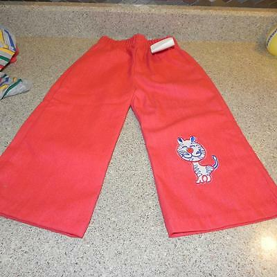 #474 New NWT Vintage Childrens Red Pants Applique Tiger 24 Months Union Made OLD