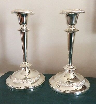 Silver Plated Candlesticks set of 2. Made in England, never tarnished