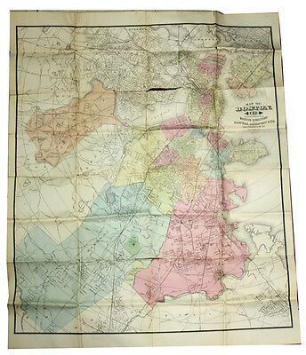 1878 Map Of Boston From The 1878 Directory Original Fantastic LOOK!!!