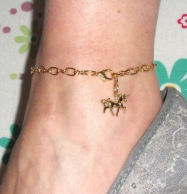 Gold Plated  (GP) UNICORN Anklet - Fits up to 9 1/2 Inches