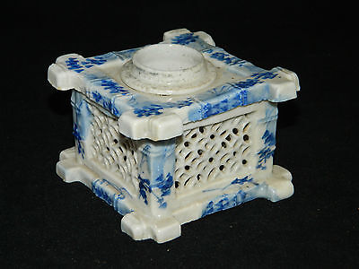 Antique 19th century Meiji period Japanese blue and white pottery ink pot