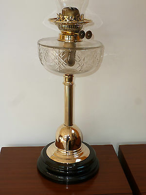 Quality Victorian Veritas cut  Glass & brass oil lamp & chimney circa 1900