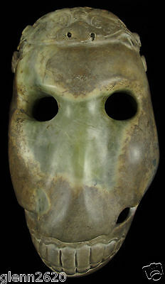Antique Chinese Soapstone Skull Mask Face Head Hand Carved Sculpture 7x4x3-1/2in