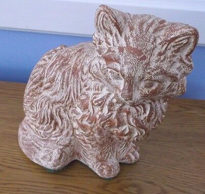 VINTAGE LARGE CERAMIC PERSIAN CAT FIGURE HAND PAINTED Brown & White