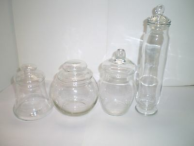 4 pc Vintage Glass Apothecary Jar Clear Medical Pharmaceutical Collectible Lot 1
