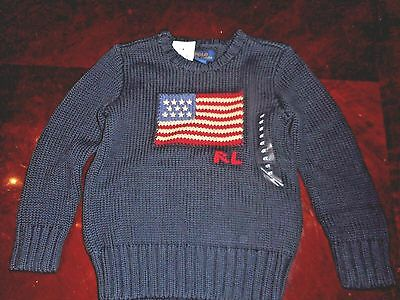 Polo Ralph Lauren American Flag 100% Cotton Knit Ribbed  Sweater Nwt  4T