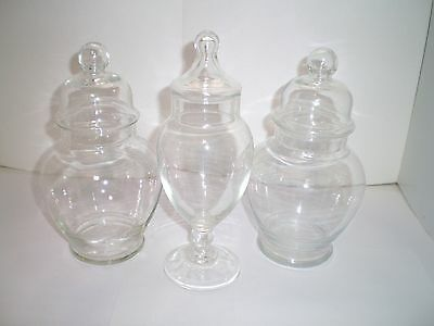 3 pc Vintage Glass Apothecary Jar Clear Medical Pharmaceutical Collectible Lot 3