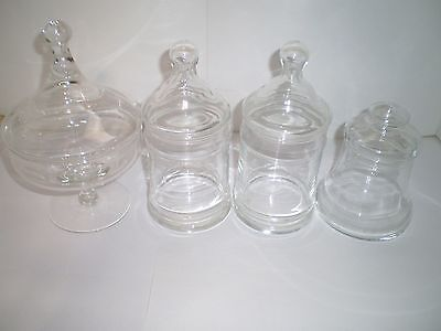 4 pc Vintage Glass Apothecary Jar Clear Medical Pharmaceutical Collectible Lot 4