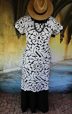 Black & White Hand Embroidered Huipil Dress Jalapa Oaxaca Mexico Hippie Cowgirl