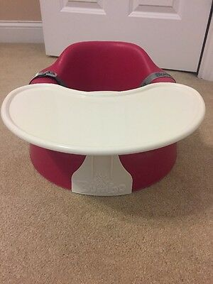 Bumbo Infant Sitter Seat Pink with Safety Straps and Tray