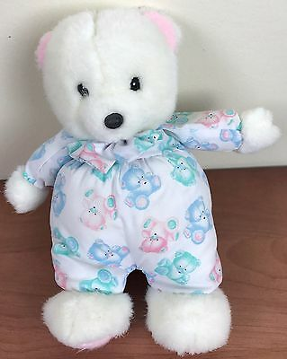 Vintage Carters White Teddy Bear Rattle Blue Pink Green Stuffed Animal Baby