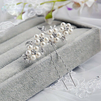 Wedding Bridal Crystal Pearl Flower Hair Pin Elegant Bridesmaid Hair Accessories