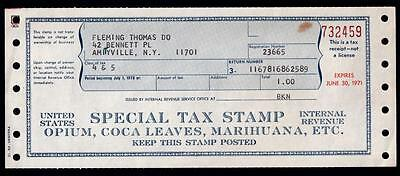 Vintage 1970s Medical Opium Marijuana Cocaine Tax Doctor Cannabis Pharmacy NY