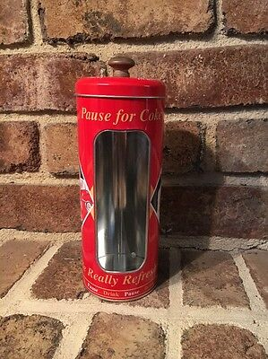 Coke-Cola Soda Straw Canister With Window View And New Retro Design