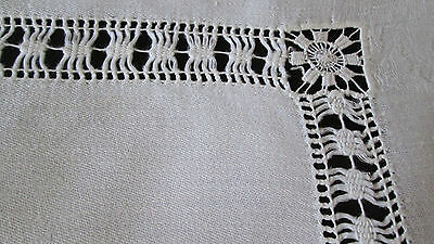 "antique linen damask tablecloth/table topper drawnwork + laddering, 27"" sq, v gd"